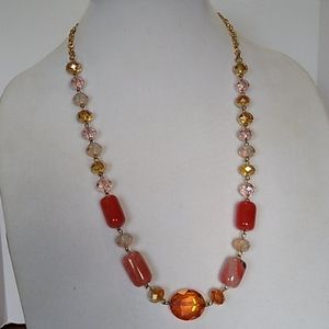 Fashion Jewelry Faceted Glass Bead Necklace